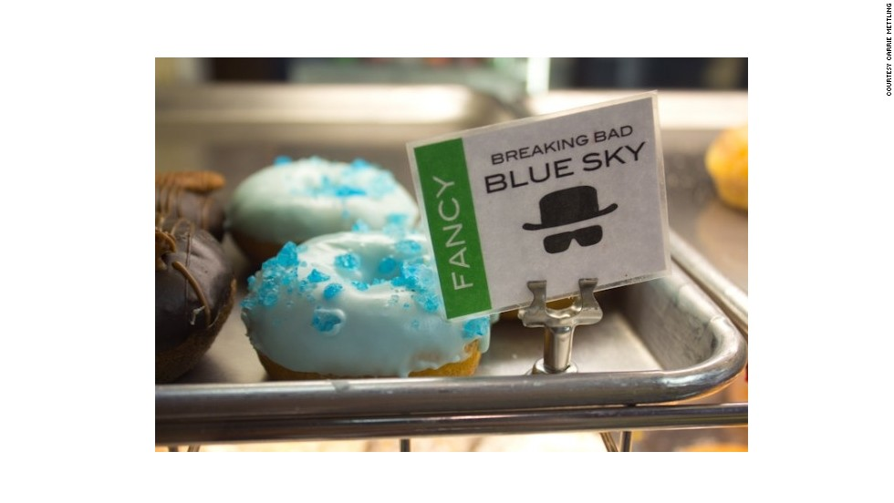 "Keep with the ""Breaking Bad"" theme at Rebel Donut by devouring a vanilla cake doughnut with light blue, cotton-candy-flavored icing topped with blue rock candy."