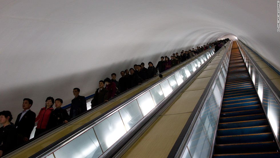 The Pyongyang Metro is 100 meters underground and it takes a couple of minutes to ride the escalator down to the station. It was opened between 1969 and 1972 by former President Kim Il-Sung.