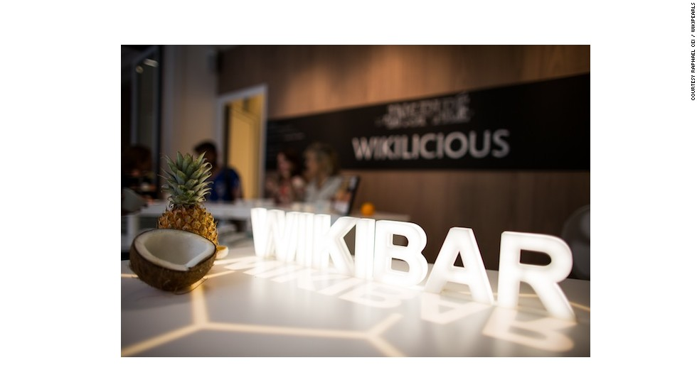 Edwards and his team recently launched the world's first café for food in edible packaging. Based in Paris, Wikibar offers Wikipearls sushi-style on a circular counter.
