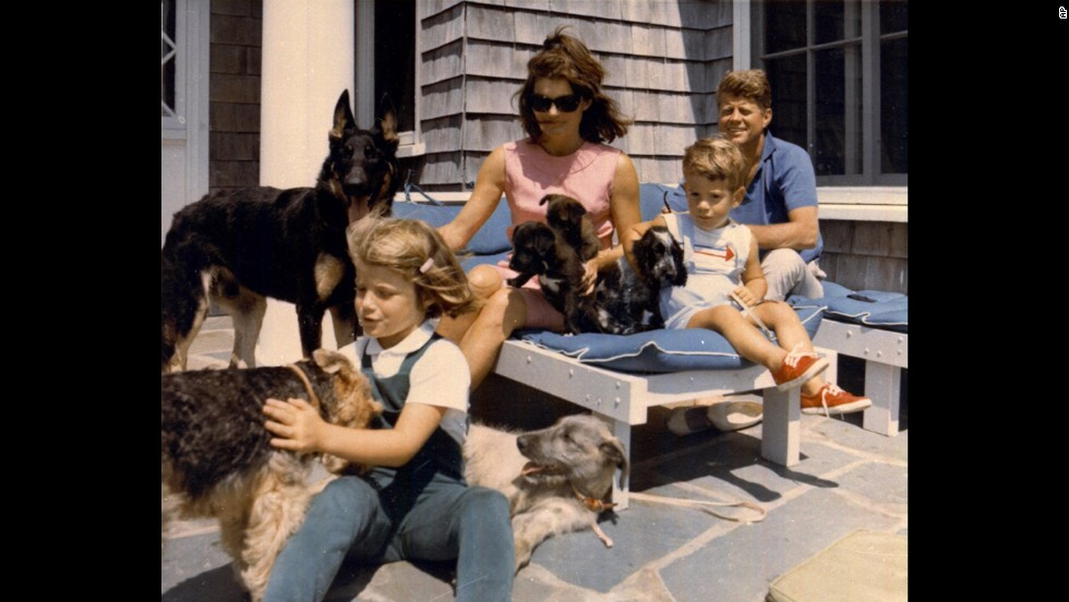 President John F. Kennedy, far right, vacations with his family in this undated photo. From left is daughter Caroline, first lady Jacqueline and son John Jr.
