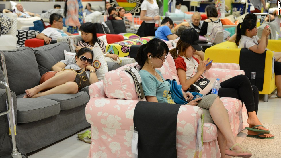 Communal living has never been as celebrated as in the Beijing Ikea. Gallery  Chinese flock to IKEA to escape heatwave