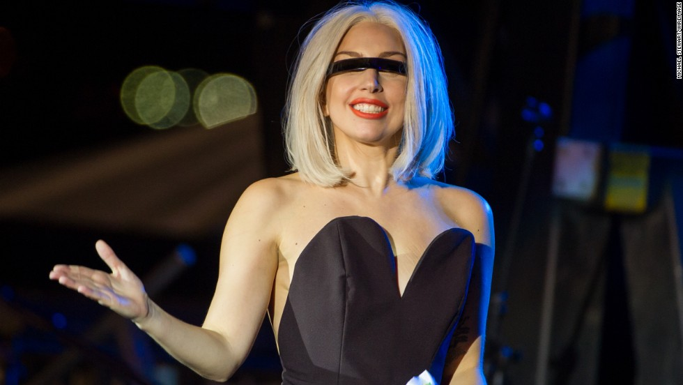 Lady Gaga speaks at The Rally during NYC Pride 2013 on June 28.
