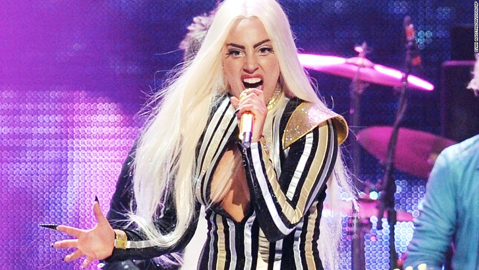 Lady Gaga performing at the Prudential Center in Newark, New Jersey, in 2012.