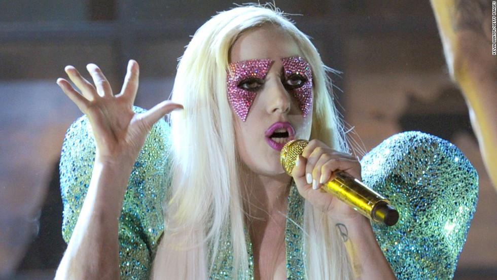 Lady Gaga onstage during the 52nd Annual Grammy Awards in 2010.