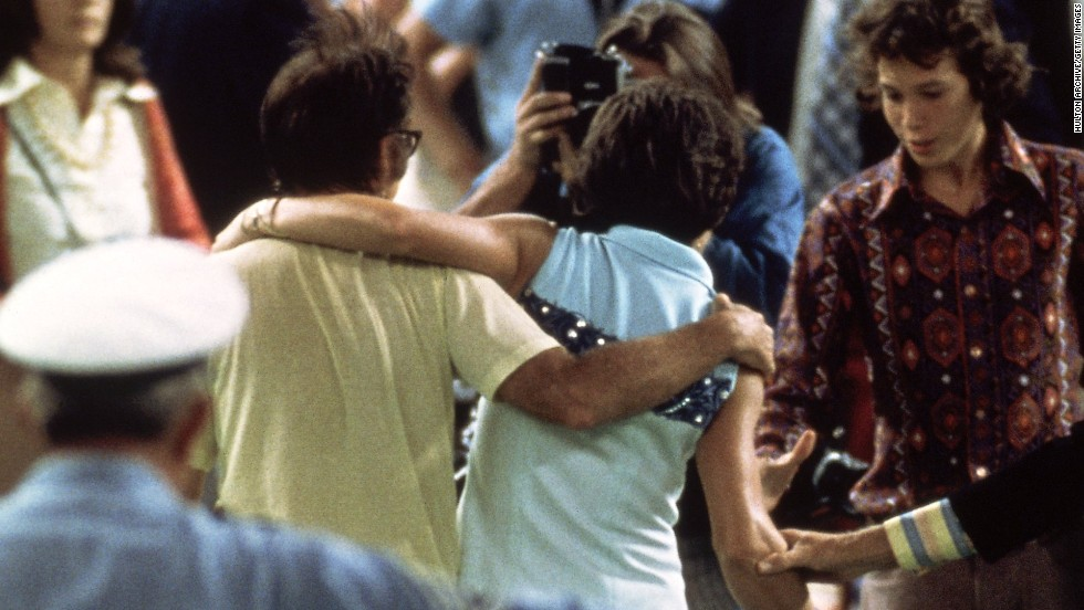 "Riggs and King embrace after the match at Houston in 1973. King said had she not won she would have ""set us back 50 years."""