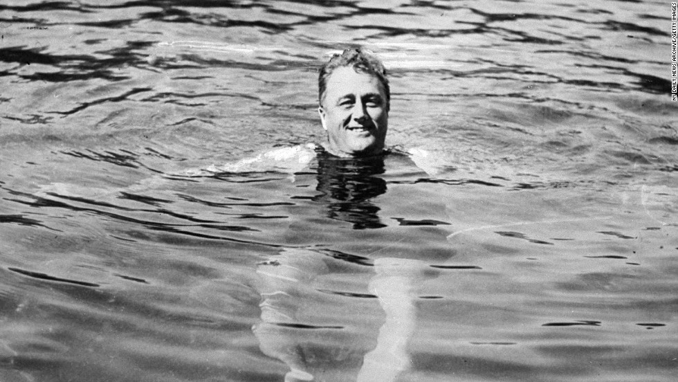 President Franklin D. Roosevelt swims in Warm Springs, Georgia.