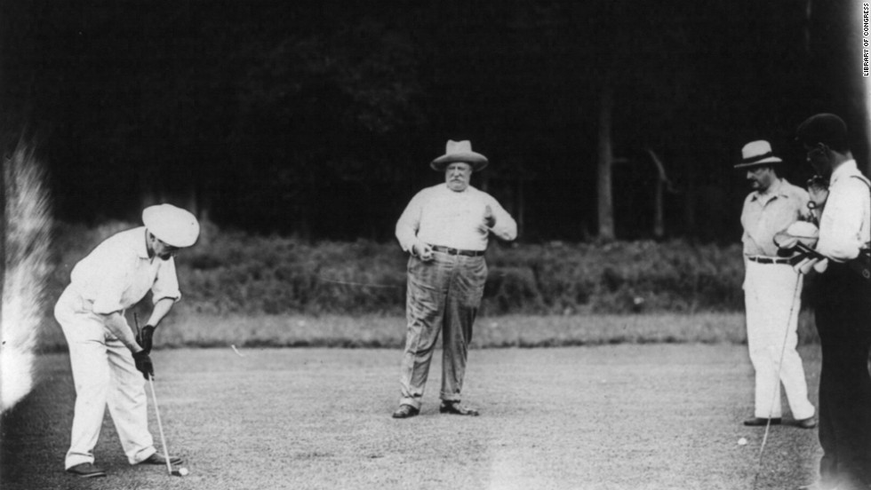 "William Howard Taft, the 27th president, was known to spend time on the <a href=""https://www.loc.gov/item/96522777/"" target=""_blank"">golf links</a>."