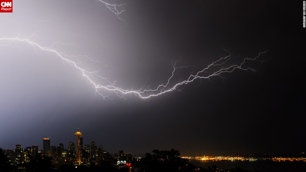 "When Seattle was pummeled with a severe electrical storm in August 2013, ""all of us photographers stood and watched in amazement,"" said <a href=""http://ireport.cnn.com/docs/DOC-1018445"">Tim Durkan. </a>He took this photo from Kerry Park in the Queen Anne neighborhood."