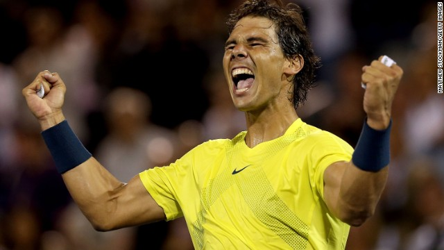 Rafael Nadal celebrates his win over Novak Djokovic at Uniprix Stadium in Montreal, Quebec, Canada.