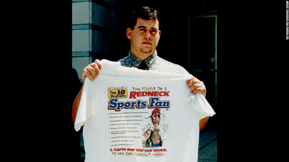 "In 2001, Tom Sypniewski was<a href=""http://transcripts.cnn.com/TRANSCRIPTS/0106/26/tl.00.html""> suspended from Warren Hills Regional High School for wearing a ""You Might be a Redneck"" T-shirt.</a> School officials call the shirt's message racial stereotyping."