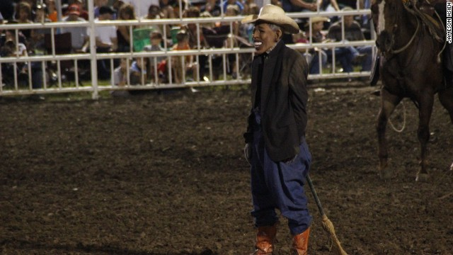 Rodeo clown mocks Obama