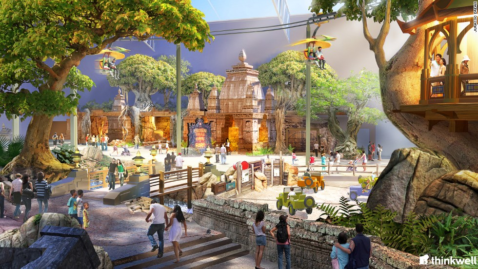 Visitors will be confronted by animatronic dinosaurs, a fire and water show based on Chinese mythology and dinosaur-themed thrill rides. <strong>Opening date</strong>: mid-2014.