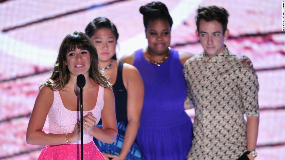 "From left, Lea Michele, Jenna Ushkowitz, Amber Riley and Kevin McHale accept the award for Choice TV Show - Comedy for ""Glee"" during the Teen Choice Awards 2013 in Universal City, California, on Sunday, August 11. Michele <a href=""http://popwatch.ew.com/2013/08/11/lea-michele-teen-choice-awards-cory-monteith-video/"" target=""_blank"">tearfully dedicated the award</a> to her late boyfriend Cory Monteith, who <a href=""http://www.cnn.com/2013/07/16/showbiz/glee-star-dead"">died last month</a> of a drug overdose."