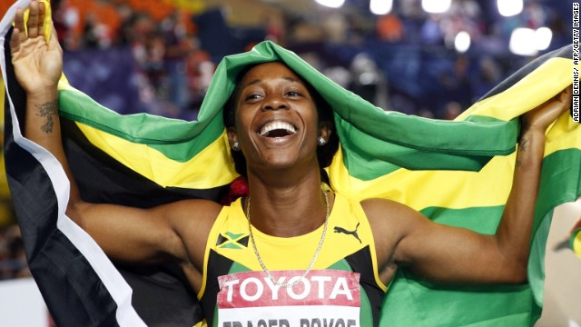Shelly-Ann Fraser-Pryce celebrates her superb victory over 100m at the world championships in Moscow.