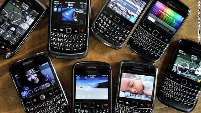This picture shows a collection of Blackberry devices at a small restaurant in Jakarta on December 10, 2011. Indonesia threatened to block Research In Motion's data services used by millions of BlackBerry smartphone customers, the industry body said, amid an ongoing spat over infrastructure and government access to information. AFP PHOTO / Bay ISMOYO (Photo credit should read BAY ISMOYO/AFP/Getty Images)