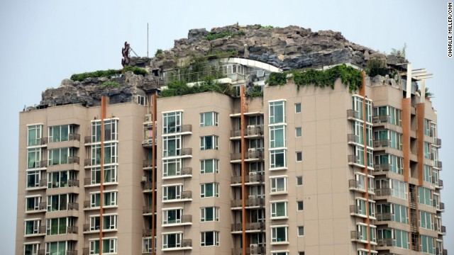 Neighbors have complained about China's latest architectural oddity, a high-rise rock retreat.