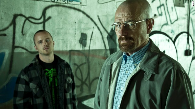 "Bryan Cranston (with Aaron Paul, left) is up for another Emmy for his performance in ""Breaking Bad."""