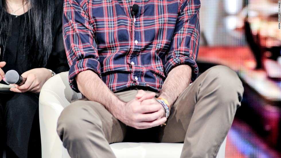 "Zachary Quinto listens in at the ""Star Trek: Into Darkness: live streaming event in Tokyo on August 13."