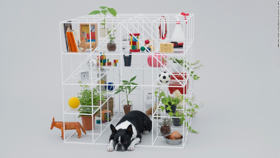 "Inspired by the Boston terrier, Sou Fujimoto's ""No Dog, No Life!"" is a hybrid of a bookshelf and a doghouse. The Boston terrier's owner can fill the wire frame with all the trappings of a well-decorated home."