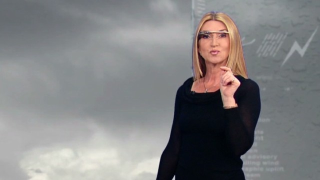 Weather anchor wears Google Glass