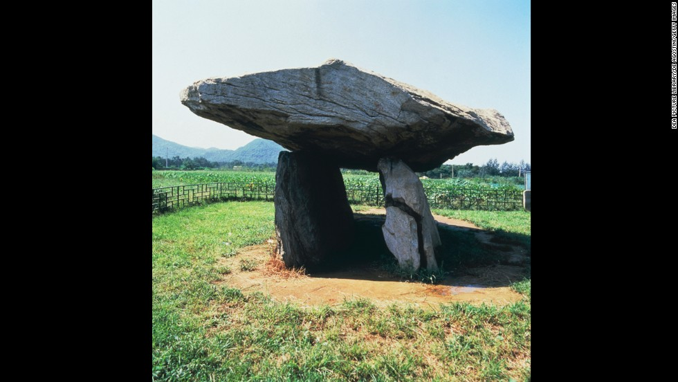 "The phenomenon of the dolmen -- a large rock balanced on slightly smaller rocks -- are found all over the world. The largest concentration is on the Korea Peninsula at sites such as <a href=""http://whc.unesco.org/en/list/977"" target=""_blank"">Gochang, Hwasun and the dolmen shown here at Ganghwa</a> in South Korea (circa 2000 BC)."