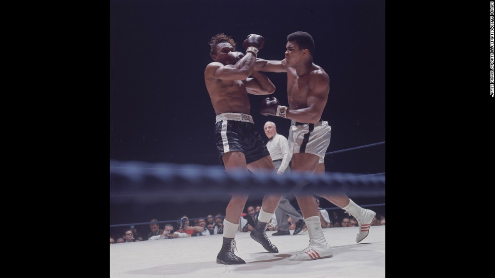 Muhammad Ali faces off against Cleveland Williams on November 14, 1966. Ali successfully defended his title as the world heavyweight champion.