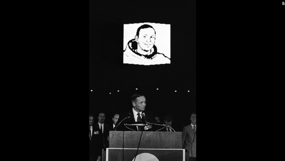 Apollo 11 astronaut Neil Armstrong addresses thousands jammed into the Astrodome on August 16, 1969, to celebrate the successful U.S. mission to the moon.