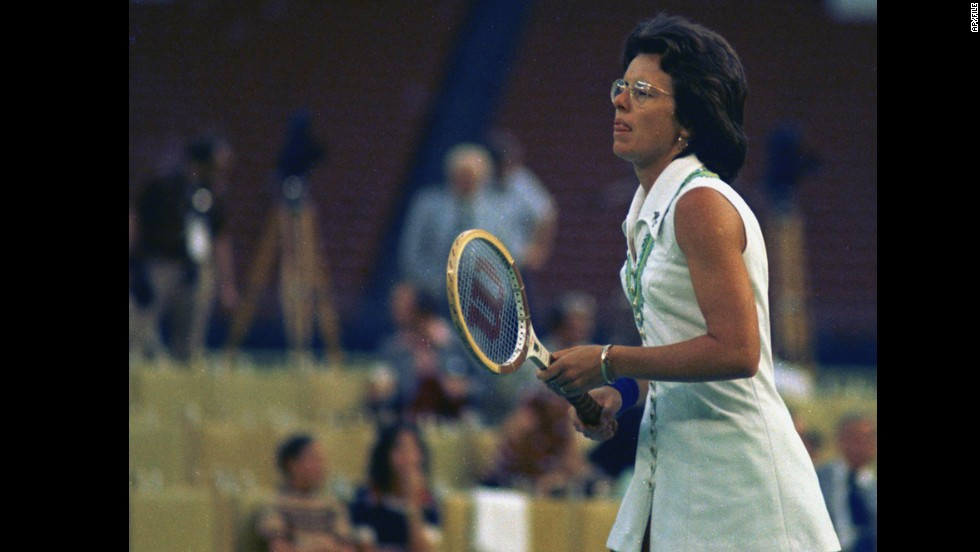 "Tennis great Billie Jean King faces off against 55-year-old Bobby Riggs at the Astrodome on September 20, 1973, in the match dubbed the ""Battle of the Sexes."" King crushed Riggs 6-4, 6-3, 6-3."