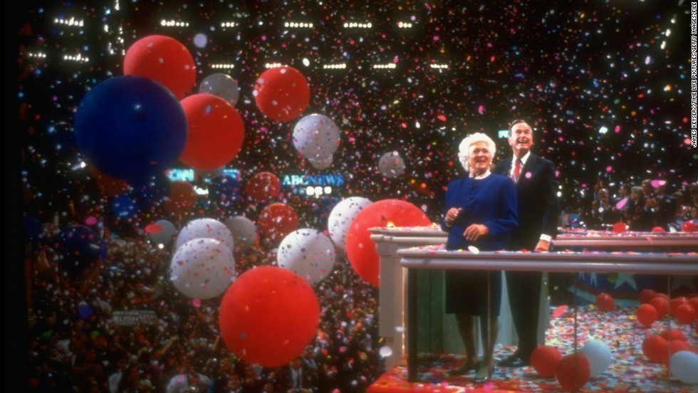 President George H.W. Bush and first lady Barbara Bush ring in the close of Republican National Convention in August 1992. Bush would go on to lose to Bill Clinton in the general election.