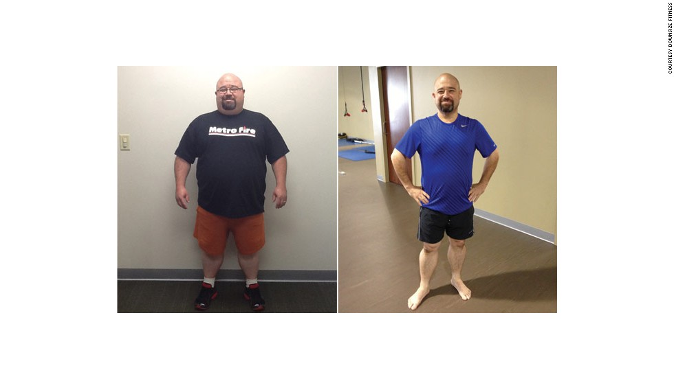 Tim McCarty, as seen in September 2012 compared to August 2013, went on a weight loss journey last year. He works out at gym geared toward overweight people called Downsize Fitness.