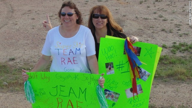 Rae Timme's friends came out to support her along her commute.