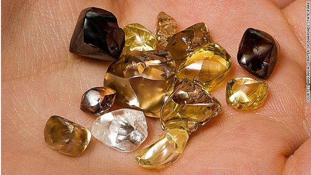 White, brown and yellow diamonds are found at the park.