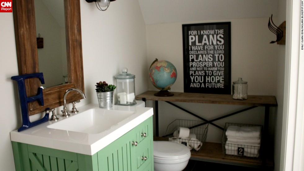 "<a href=""http://ireport.cnn.com/docs/DOC-1017242"">Emily Clark's</a> toy <a href=""http://emilyaclark.blogspot.com/2013/06/our-new-bathroom-details-sources.html"" target=""_blank"">closet turned boy's bathroom.</a>"