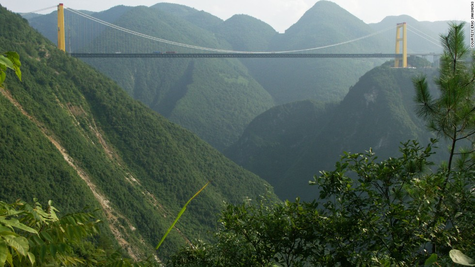 This is the highest bridge in the world. The Sidhue River Bridge hangs 1,627 feet (496 meters) above the water, according to highestbridges.com. It's located in China's Hubei Province, about 50 miles (80 kilometers) south of the well-known Yangtze River area called Three Gorges.