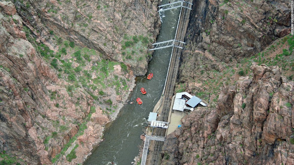 "Drivers are required to cruise across the Royal Gorge Bridge, suspended above <a href=""http://parks.state.co.us/Parks/ArkansasHeadwaters/Pages/ArkansasHeadwatersHome.aspx"" target=""_blank"">a canyon cut by the Arkansas River</a>, at just 5 mph. Even at that speed, ""the bridge moves and shakes,"" Sakoswski says. ""It's scary because of the wood planks. You get the feeling that one of them might give way and the car will get stuck there."""