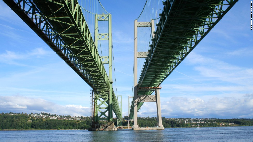 The double spanned Tacoma Narrows Bridge in Washington state has gone through many changes over the decades. The first version of the bridge collapsed in 1940 after the structure shockingly bent during 40-mph winds. A single span replacement was built in 1950.