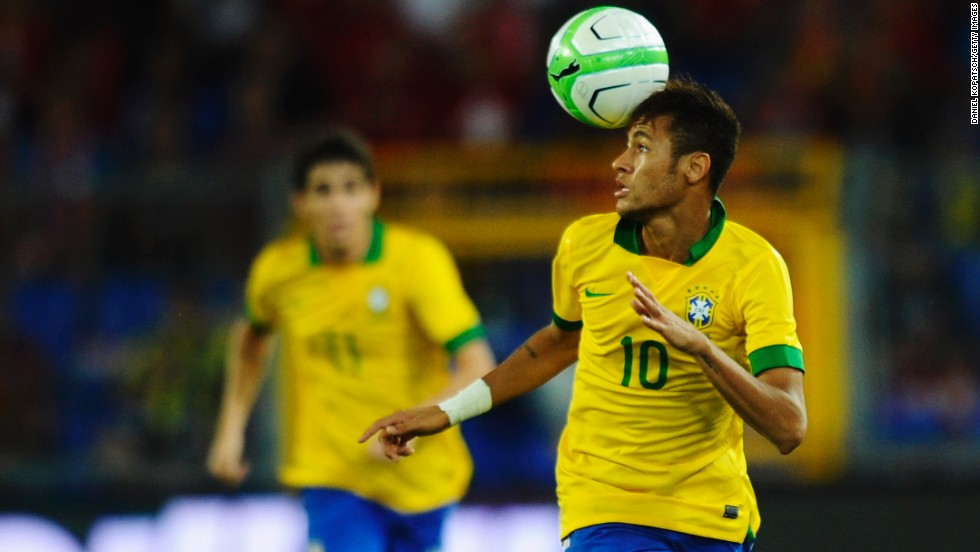 Head Master: Neymar controls the ball in Brazil's match against Switzerland in Basel.  But his side lost 1-0.