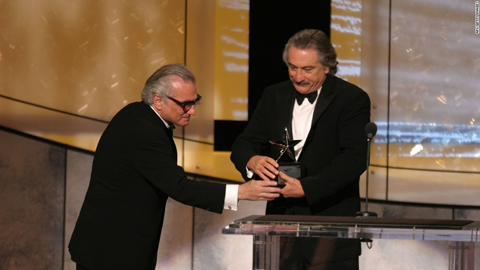 In 2003, Scorsese presents De Niro with the American Film Institute's 31st lifetime achievement award.