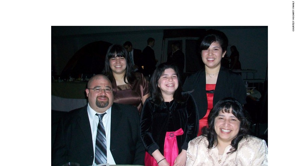 McCarty with his family: left to right, daughters, Elizabeth, Sarah and Rebecca, and wife Rachel. He weighed 300 pounds in September 2012.