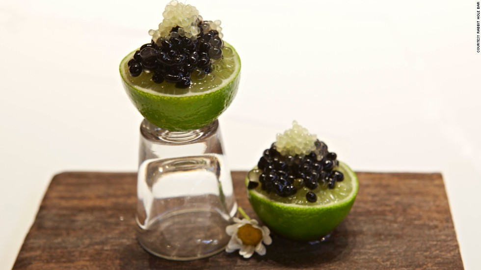 "Doug Laming uses a Cointreau Caviar Spherification kit to create ""pearls"" of alcohol that burst in the mouth."