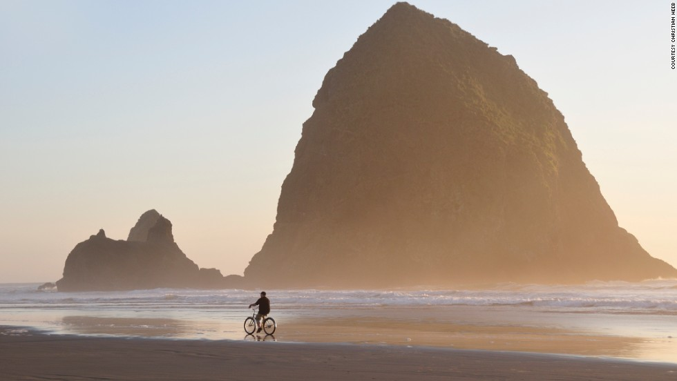 Haystack Rock stands in front of Cannon Beach and can also be seen from Tolovana Beach.