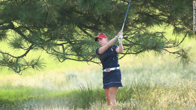 Morgan Pressel, pictured, and Jessica Korda earned the U.S. its lone point in the opening session of the Solheim Cup.
