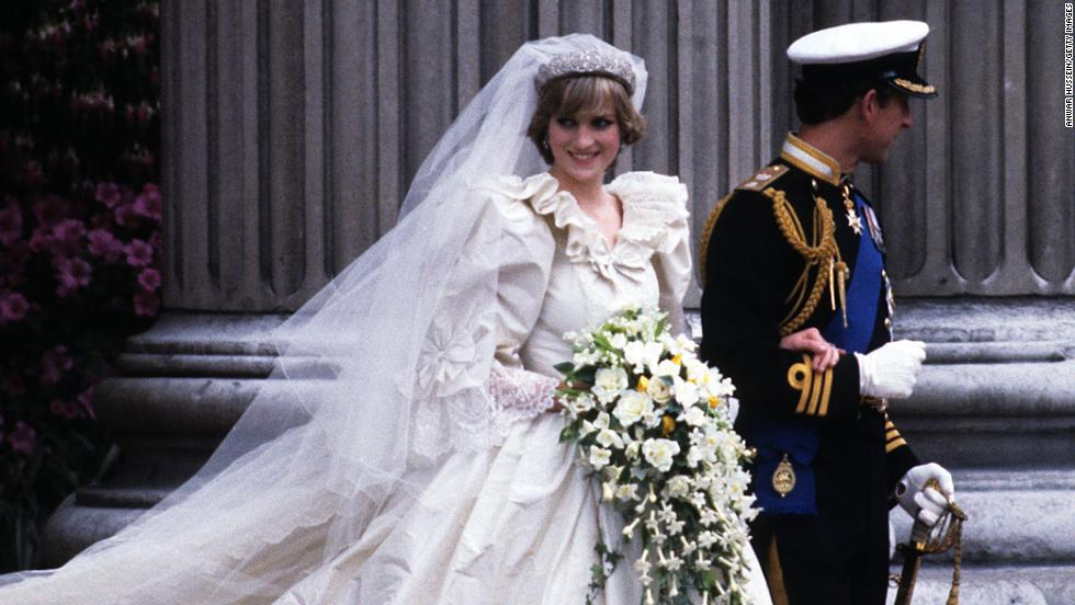 Lady Diana and Prince Charles wed on July 29, 1981.  Here the prince and princess (wearing a David Emanuel wedding dress, leave St. Paul's Cathedral.