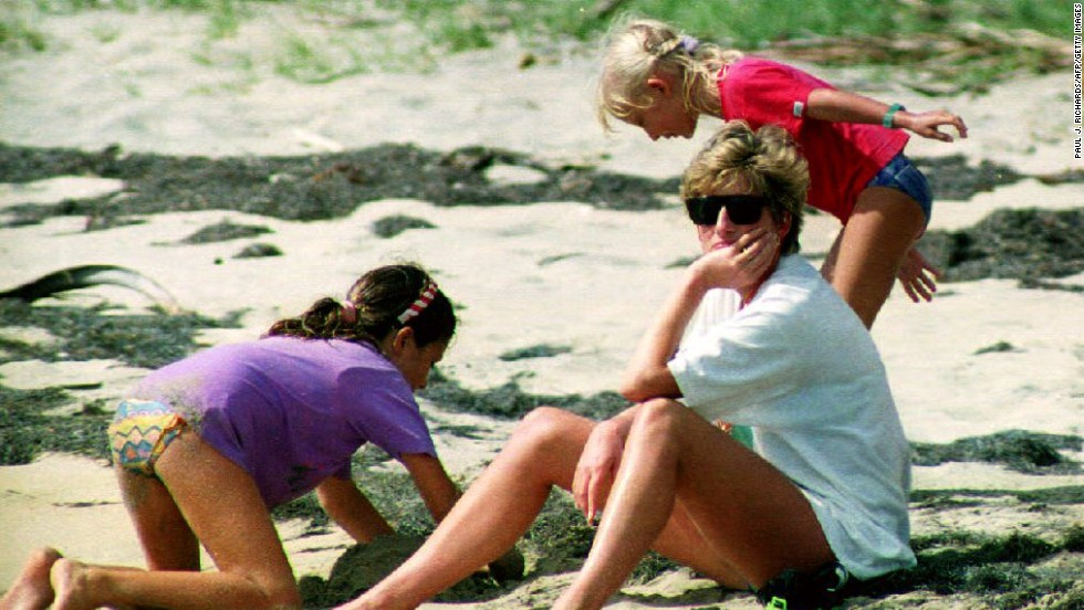 Diana sits on Banana Beach during a trip to the West Indies on Januray 4, 1993.