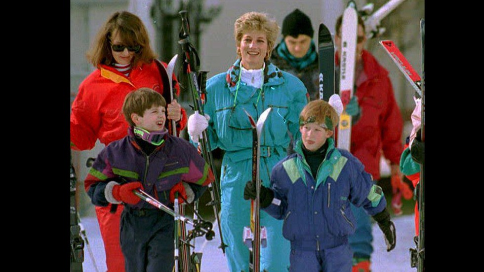 Diana and Harry are accompanied by family friend Catherine Soames and her son Harry during a pre-Easter skiing trip in Lech, Austria, on March 24, 1994.