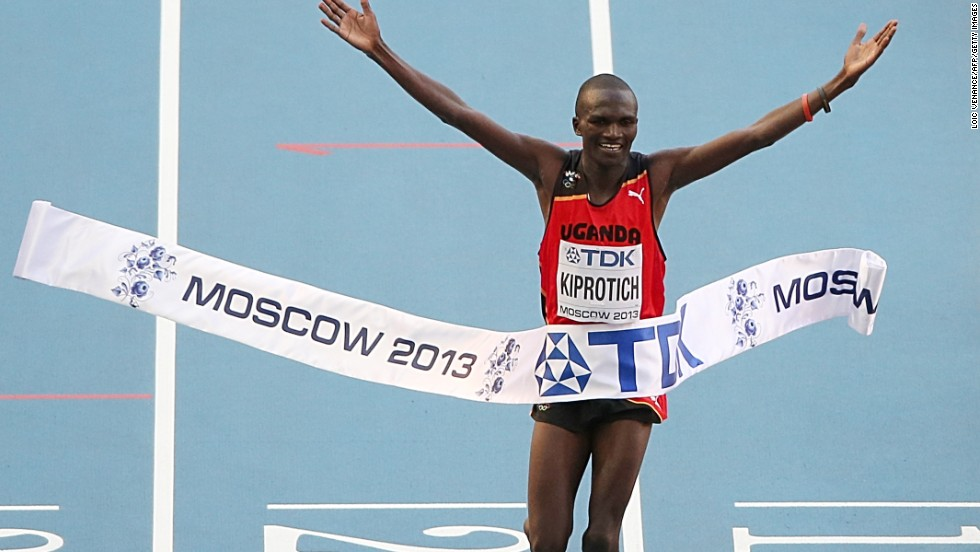 Stephen Kiprotich added the marathon world title to the Olympic gold he won in London 12 months ago.