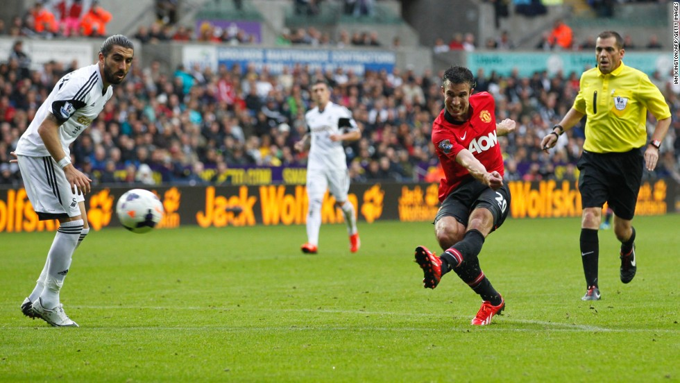 Robin van Persie lashes in his second goal against Swansea City. The Dutch striker left  Wayne Rooney in the shade yet again. The unsettled English striker came on as a second-half substitute but failed to score.
