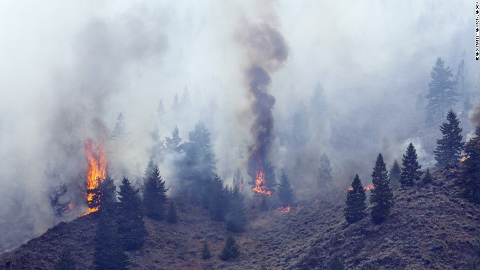 Firefighters continue to battle the fire in the Wood River Valley as it drops down a canyon hillside west of Hailey on August 17.