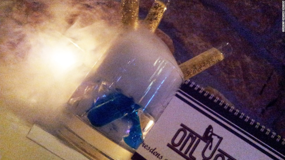 OnlyOne's experimental, triple-test-tube cocktail. Is this a bar or a science lab?