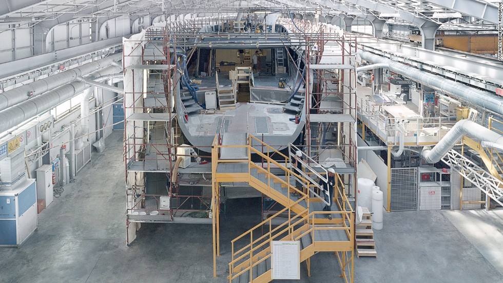 "Founded in 1994, Wally Yachts is the design and manufacture company behind some of the most innovative -- and expensive -- superyachts in the world. Here, the 50-meter boat ""Better Place"" takes shape -- one of the largest carbon fiber sailboats ever built by the firm."